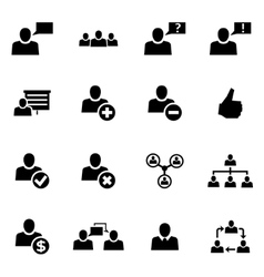 Black office people icon set vector