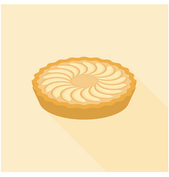 Apple pie in flat design with long shadow vector