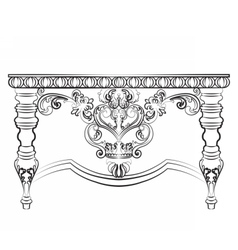 Baroque imperial style wooden table vector