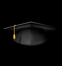 Black graduation cap - mortarboard hat on black vector