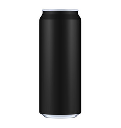 black metal aluminum beverage drink can 500ml vector image