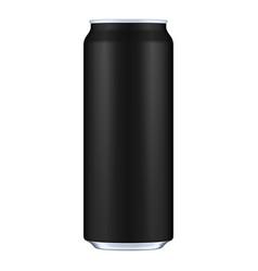 Black metal aluminum beverage drink can 500ml vector