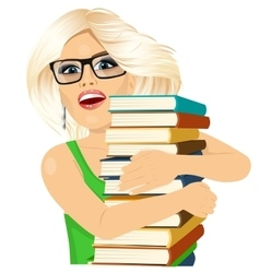 Blonde woman hugging stack of books happily vector