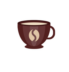 brown ceramic cup of coffee with coffee bean logo vector image