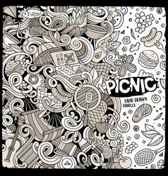 cartoon picnic doodle frame vector image vector image