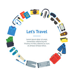 cartoon vacation and travel banner card circle vector image vector image