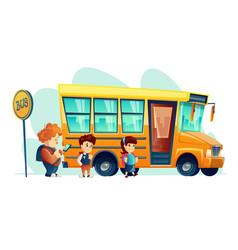 Children get on school bus vector