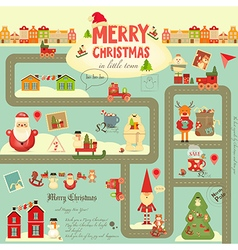 Christmas characters on city map vector