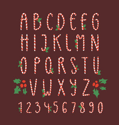 christmas font candy cane type alphabet new vector image