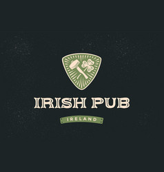 classic retro styled label for irish pub vector image vector image