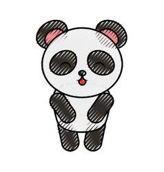 Cute scribble panda bear vector