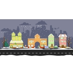 cute winter houses vector image vector image