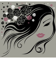 Decorative vintage woman with flowers vector