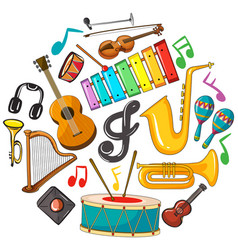 different types of musical instruments vector image vector image