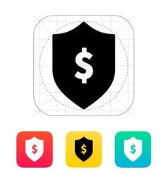 Financial security shield with dollar sign icon vector image vector image