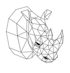 geometric rhinoceros vector image