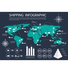 Global shipping and logistics infographics vector image