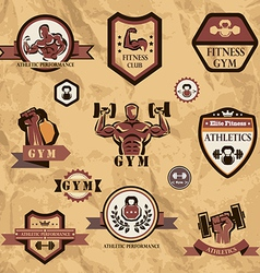 Gym fitness emblems collection vector