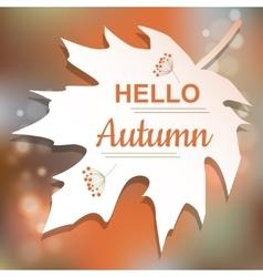 Hello Autumn orange card design vector image vector image