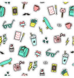 Hipster objects background vector