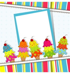 Ice Cream Card Template vector image