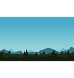 Landscape of hill and tree with mountain vector
