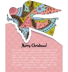 Merry christmas card with angel colorful vector