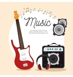Music electric guitar speaker headphone note vector