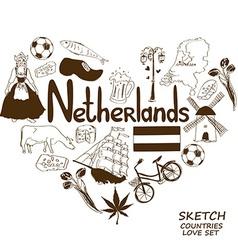 Netherlands symbols in heart shape concept vector image