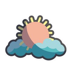 Nice sun and cloud weather vector