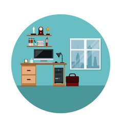 Office space work computer desk lamp shelf trophy vector