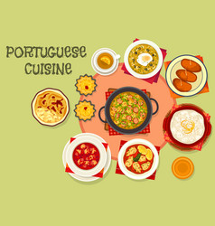 Portuguese cuisine popular dishes icon vector