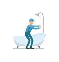 Proffesional plumber man character cleaning drain vector