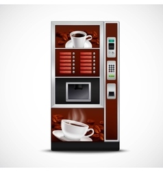 Realistic coffee vending machine vector