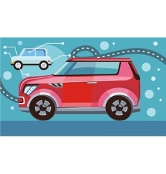 Red Car on Highway vector image