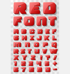 Red font 3d on a transparent background vector