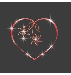 Red heart sparkly Glittering outline tape vector image