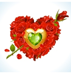Red roses in the shape of heart vector