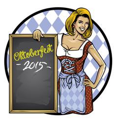 retro of oktoberfest girl lean on the blackboard vector image vector image