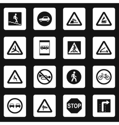 Road signs icons set simple style vector image vector image