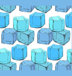 Seamless texture with blue hand drawn ice cubes vector