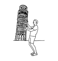 Tourist push leaning tower of pisa vector