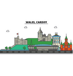Wales cardiff city skyline architecture vector