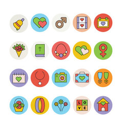 Wedding colored icons 3 vector