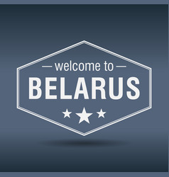 welcome to belarus hexagonal white vintage label vector image vector image