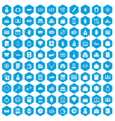100 deposit icons set blue vector