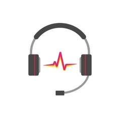 Music logo  support headphones with read vector