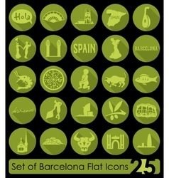 Set of barcelona icons vector