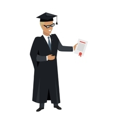 Person in mantle gown and academic square cap vector