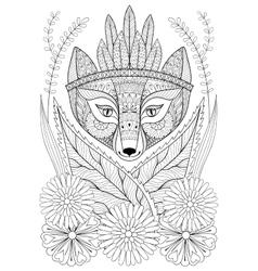 Zentangle wild fox with indian war bonnet in grass vector